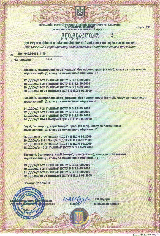 Сертификат Новый Стиль Додаток 2
